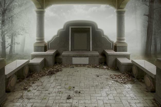 Lapidi sul cimitero con lo sfondo nebbioso. concetto di halloween