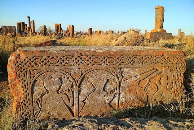 Lapidi al cimitero di noratus il più antico cimitero armeno nel villaggio di noratus armenia