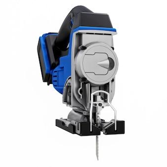 Lo strumento è un puzzle elettrico blu su sfondo bianco isolato. rendering 3d.
