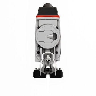 Lo strumento è un puzzle elettrico rosso su sfondo bianco isolato. rendering 3d.