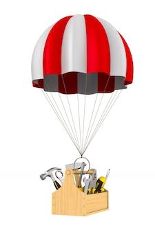Cassetta degli attrezzi e paracadute su bianco. illustrazione 3d isolata