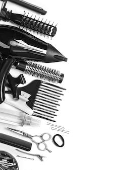 Strumenti vista dall'alto del parrucchiere