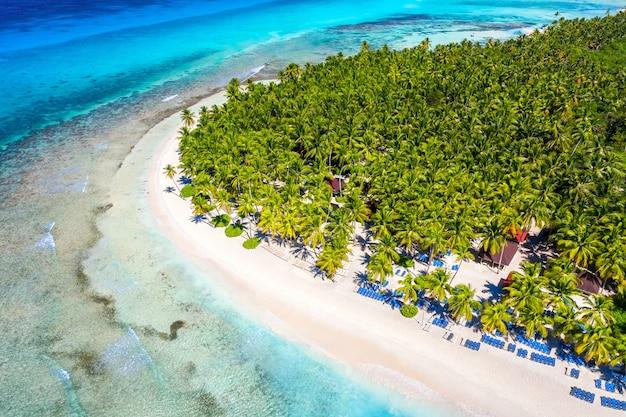 Vista aerea dall'alto della bellissima spiaggia con acqua di mare turchese e palme. isola di saona, repubblica dominicana. fondo tropicale della natura dell'isola di paradiso.