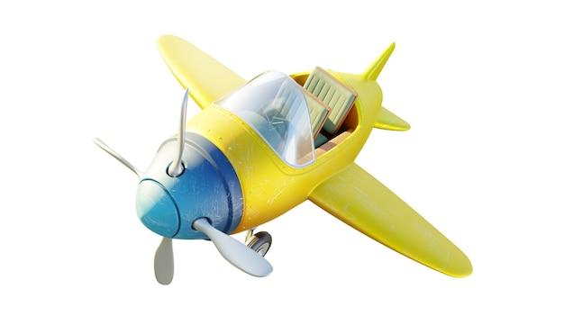 Vista dall'alto di un aeroplano a due posti giallo e blu carino retrò isolato su priorità bassa bianca. rendering 3d.