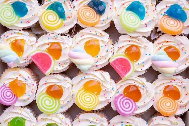 Top of colorful fruit cupcakes.