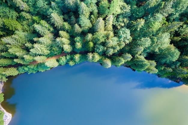 Vista aerea dall'alto verso il basso del grande lago con acqua cristallina tra le colline di alta montagna