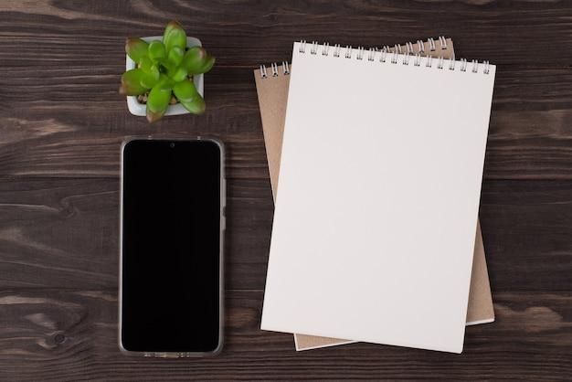 Vista dall'alto in alto, foto piatta di un telefono notebook vuoto e succulento isolato su sfondo di legno con copyspace