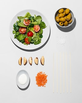 Vista dall'alto disposizione dieta flexitariana