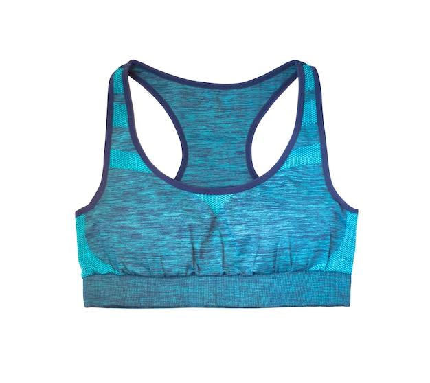 Vista dall'alto di reggiseni sportivi blu isolati su sfondo bianco. abbigliamento fitness per donne attive