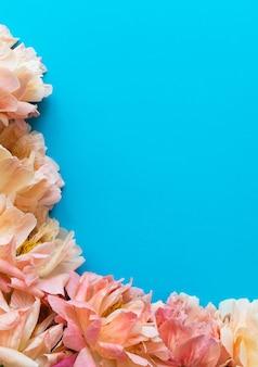 Vista dall'alto sul bouquet di peonie, fiori su sfondo blu, piatto laici, copia dello spazio