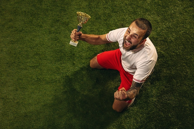 Vista dall'alto del giocatore di calcio o di calcio caucasico sulla parete verde dell'erba. giovane modello sportivo maschio che celebra la vittoria con la coppa dei campioni, urlando emotivo. concetto di sport, competizione, vincita.