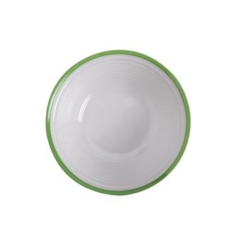 Ciotola in ceramica vista dall'alto isolata su sfondo bianco