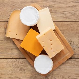 Disposizione del formaggio vista dall'alto