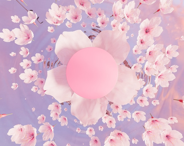 Vista dall'alto di un fiore di ciliegio con un cerchio vuoto al centro e molti fiori che cadono sull'acqua. supporto del prodotto. rendering 3d