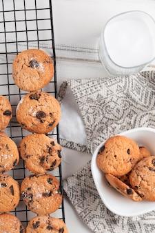 Biscotti al cioccolato vista dall'alto