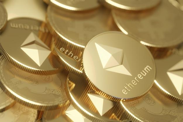 Primo piano vista dall'alto di ethereum e pila bitcoin di monete d'oro sullo sfondo. rendering dell'illustrazione 3d.