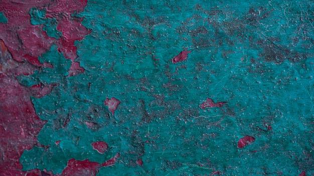 Vista dall'alto della superficie metallica grossolana con vernice