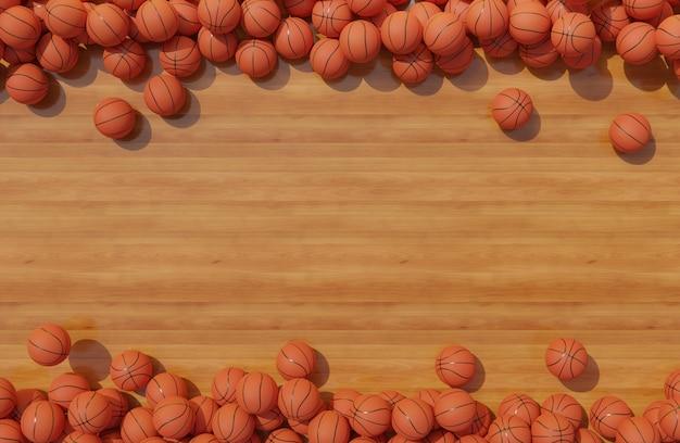 Vista dall'alto della composizione con i palloni da basket