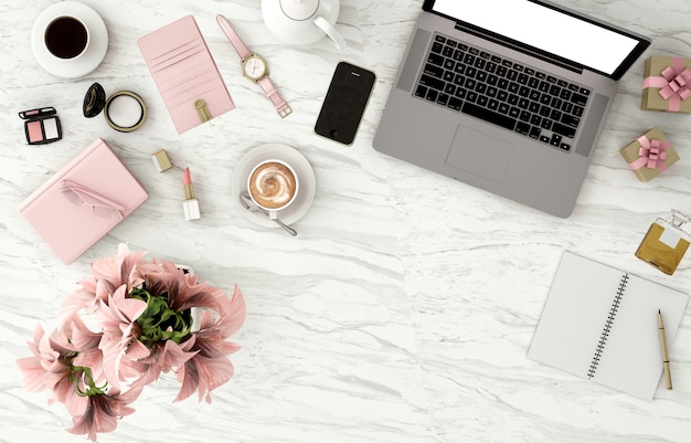 Vista dall'alto dello spazio della copia con notebook e cosmetici