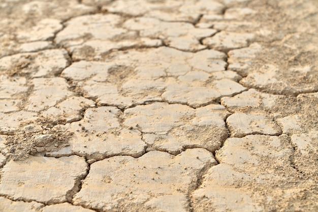 Vista dall'alto di crepe e terra asciutta senza acqua.