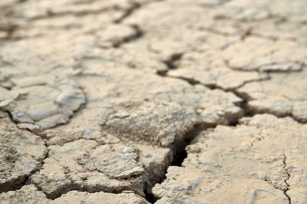 Vista dall'alto di crepe a terra nel deserto, pietre beige texture.