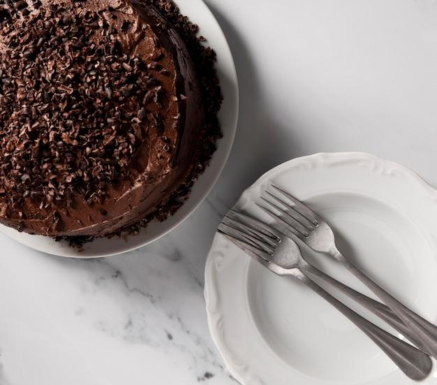 Vista dall'alto del concetto di deliziosa torta al cioccolato