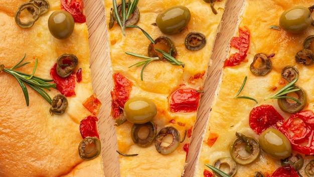 Vista dall'alto delizioso arrangiamento di cibo italiano
