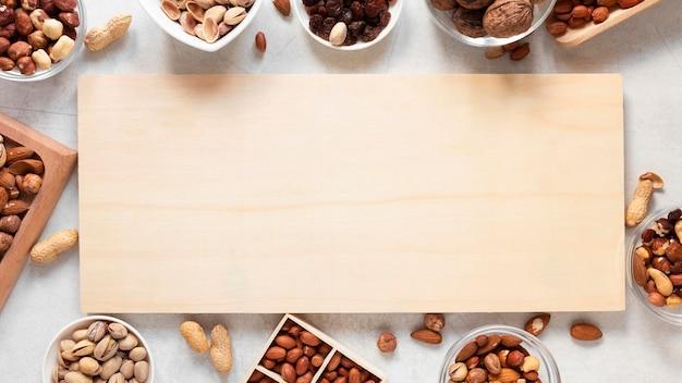 Vista dall'alto del delizioso concetto di noci