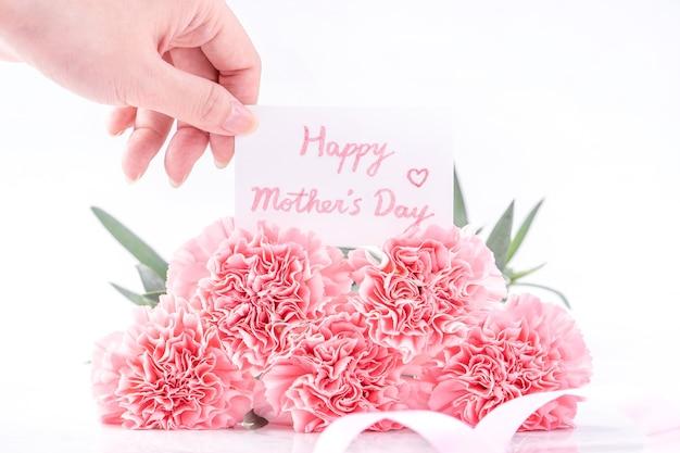 Vista dall'alto dell'eleganza in fiore garofani teneri di colore rosa dolce isolati su sfondo bianco luminoso con carta, concetto di design di saluto della mamma di giorno di madri di maggio, primi piani, spazio di copia