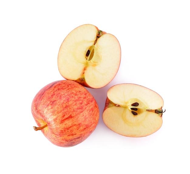 Vista dall'alto delle mele di gala isolate su bianco