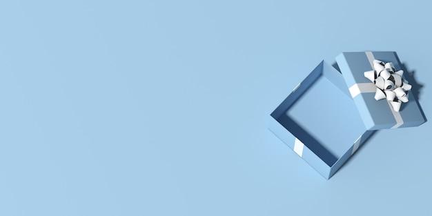 Vista dall'alto della confezione regalo su sfondo blu con spazio di copia. rendering 3d.