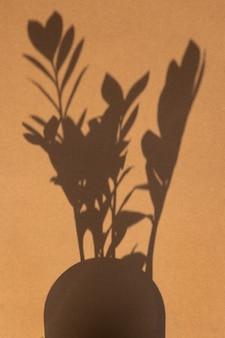 Vista dall'alto dell'ombra della pianta verde su sfondo di colore marrone sabbia. disposizione piatta. concetto estivo minimale verticale