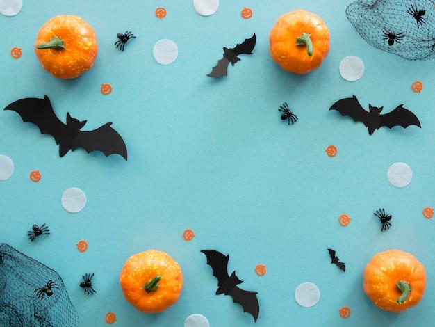 Concetto di halloween vista dall'alto con le zucche