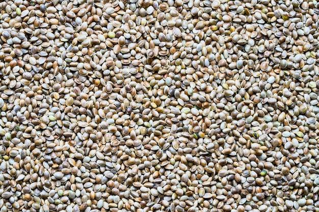 Vista dall'alto di semi di canapa, sfondo di cibo.
