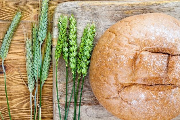 Una vista dall'alto di una pagnotta rotonda fatta in casa di pane arancione che giace insieme a spighe di grano verde su un tagliere