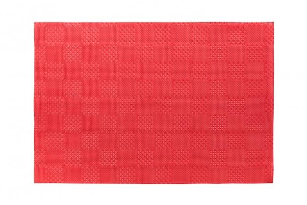 Vista superiore della tovaglietta rossa isolata per alimento.