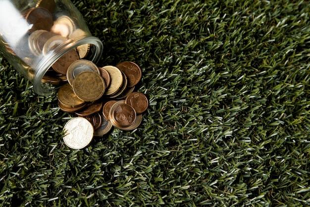 Vista dall'alto del vaso con monete su erba e spazio di copia