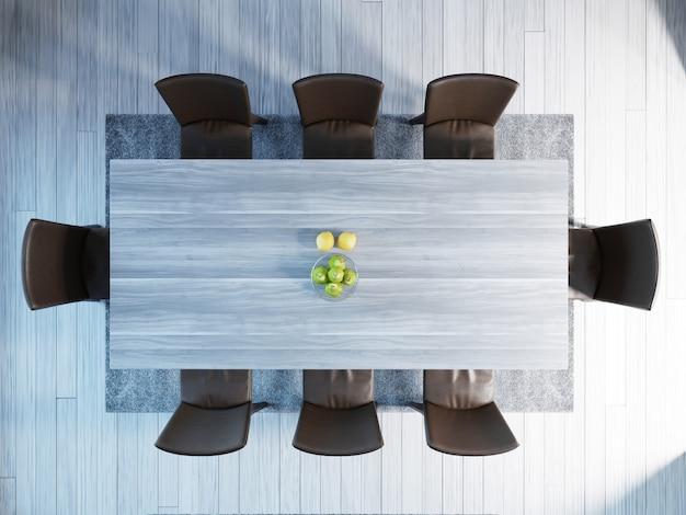 Vista dall'alto dell'interno moderno della sala da pranzo, tavolo, sedie. rendering 3d