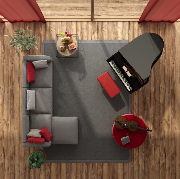 Vista dall'alto di un moderno soggiorno con pianoforte a coda