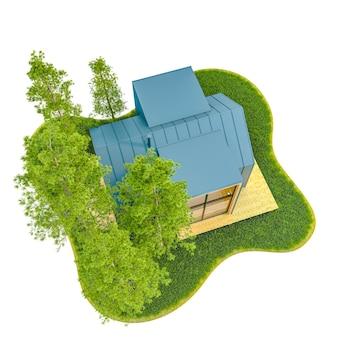 Vista dall'alto di una moderna piccola casa in legno in stile scandinavo nata con un tetto in metallo su un'isola con un prato verde e abeti. illustrazione 3d su sfondo bianco, isolato