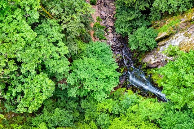 Vista dall'alto della cascata nideck nelle montagne dei vosgi - alsazia, francia