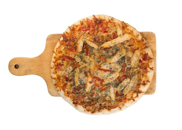 Pizza vista dall'alto isolata