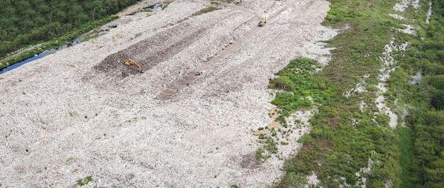 Vista dall'alto su plastica e altri rifiuti industriali disastro ecologico dall'alto immondizia riscaldamento globale e acque reflue dell'area, vista aerea discarica rifiuti rifiuti enorme discarica problema di inquinamento ambientale