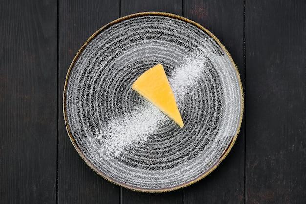 Vista dall'alto della torta di formaggio di zucca
