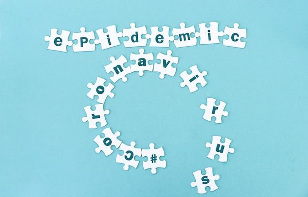 Vista dall'alto dei pezzi del puzzle coronavirus epidemico