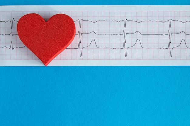 Vista dall'alto del cuore rosso e del cardiogramma sulla superficie blu