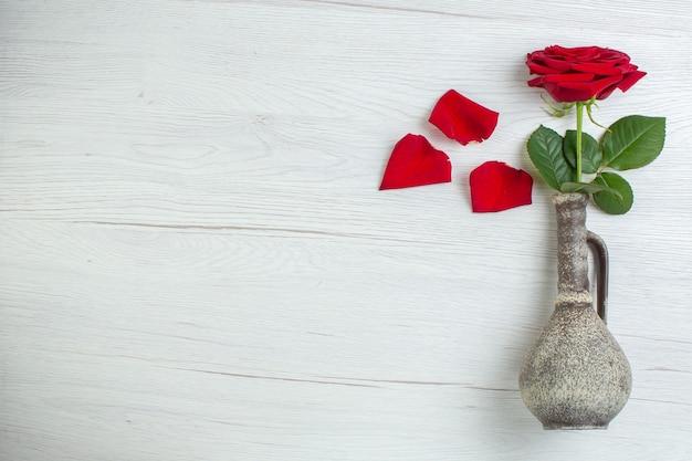 Vista dall'alto rosa rossa su sfondo chiaro matrimonio sentimento passione coppia amore amante cuore colore nota spazio libero