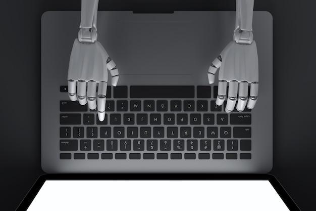 Vista dall'alto del robot digitando sul portatile
