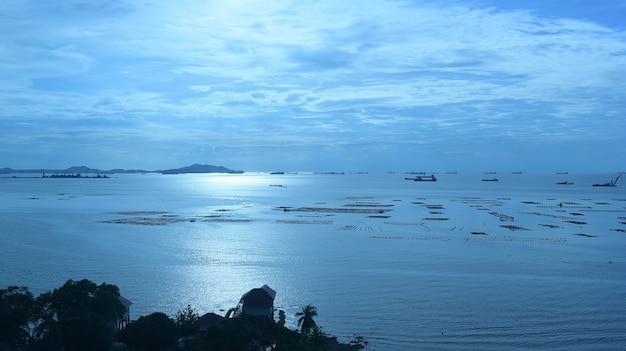 Vista dall'alto sul mare con molte barche