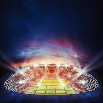 Vista dall'alto di uno stadio di calcio di notte con le luci accese. rendering 3d